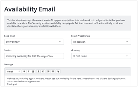 availability email campaigns